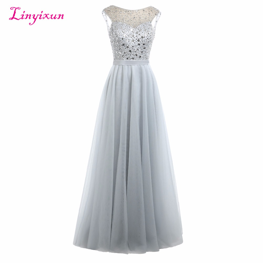 Linyixun Real Photo 20017 New Scoop Sleeveless   Prom     Dresses   With Beaded Sashes Tull Long Evening   Dress   Custom Made   Prom   Gown
