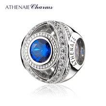 Женские браслеты из стерлингового серебра 925 пробы ATHENAIE, с голубыми прозрачными фианитами и бусинами в европейском стиле, рождественский подарок, ювелирные изделия