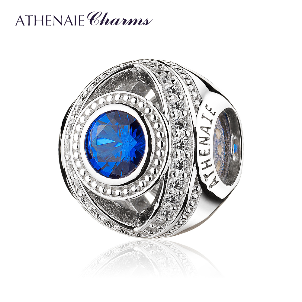 ATHENAIE 925 Sterling Silver Watchful Eye Blue Clear CZ Bead Charms Fit European Women Bracelets Christmas Gift Jewelry