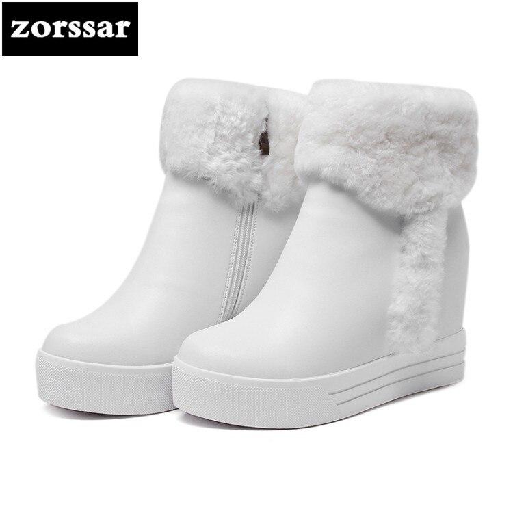 {Zorssar} 2018 New winter Warm Plush women snow boots High heel ankle boots platform shoes heels botas nieve mujer invierno