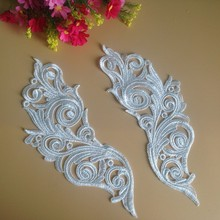 1Pair Wonderful Hot Sale Cord Lace Mirror Motif Sewing Accessories Boutique DIY Craft Lace Applique For Wedding Dress T34