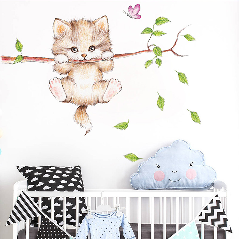 Cat On The Tree Branch Wall Sticker Removable Art Mural Room Home Decor Decals!