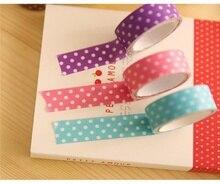 6Pcs Creative  Dot Decorative Paper Tape Simple Stationery DIY Sticker Scrapbooking Album Korean Style Random Color