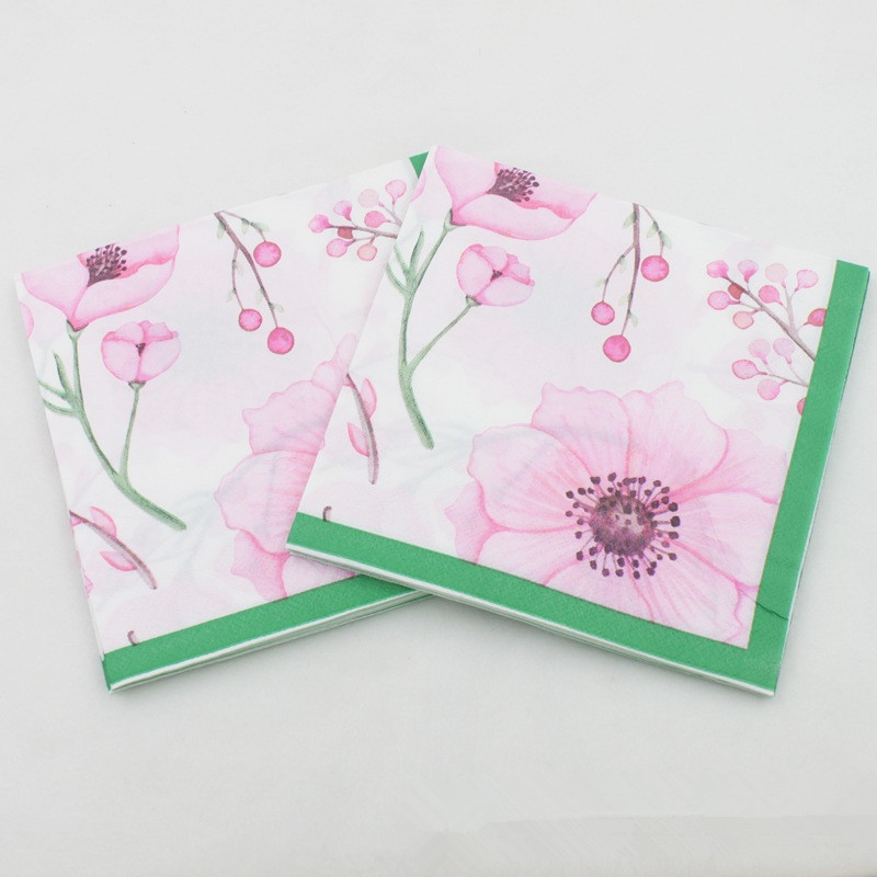 New Spring Pink Flowers Paper Napkins Cafe&Party Tissue Napkins Decoupage Decoration Paper 33cm*33cm 20pcs/pack/lot