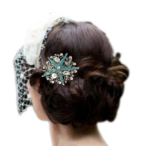 Wedding Hair Accessories Blue Starfish Comb Tiara Drop Austrian Crystals Pearls Bridal Bridesmaid Jewelry