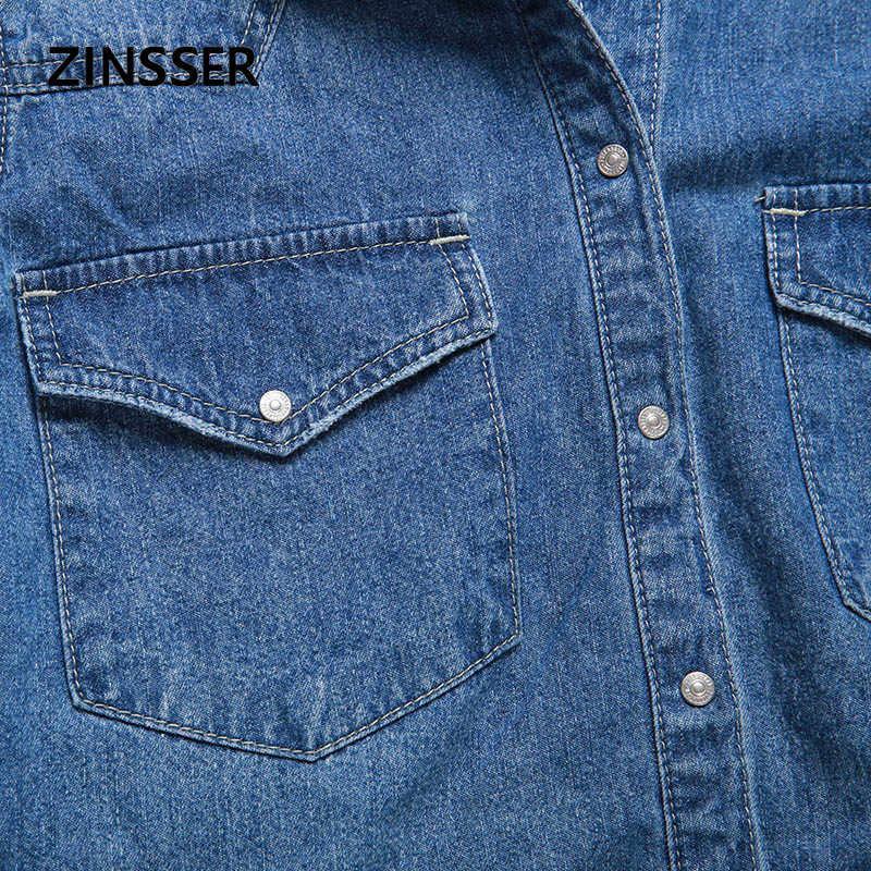 女性デニムシャツ基本ゆるいカジュアルな長袖と 2 ポケット綿 100% 洗浄ブルー女性ブラウストップ