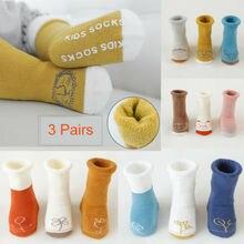 3 пары Хлопковых Носков для маленьких мальчиков и девочек Теплые носки для новорожденных и малышей От 1 до 5 лет