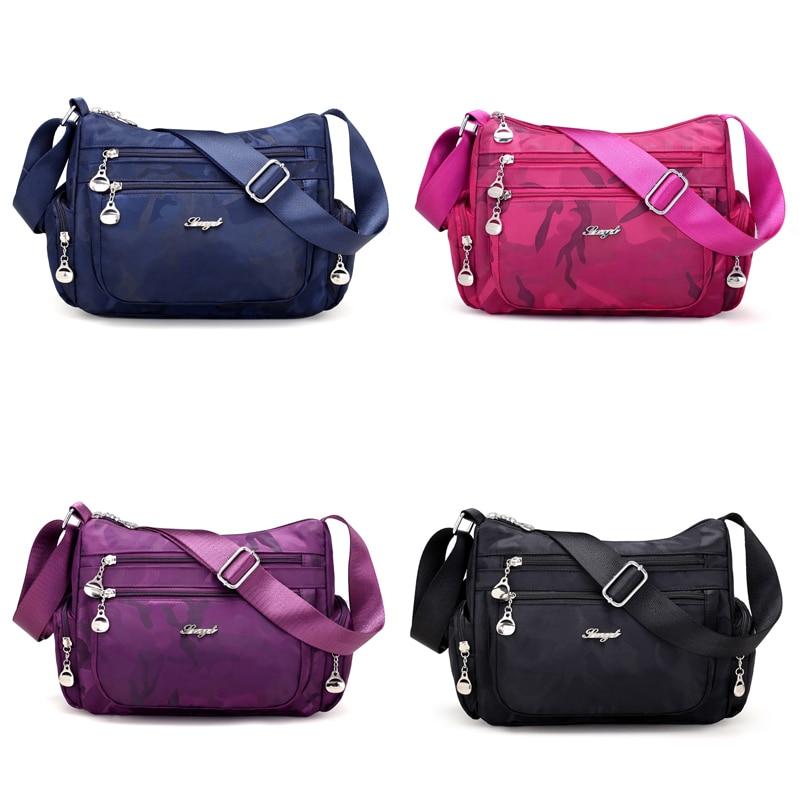 Waterproof Nylon Women Messenger Bags Camouflage Hobos Ladies Handbag Female Crossbody Bags Shoulder Bags for women 2019 in Shoulder Bags from Luggage Bags
