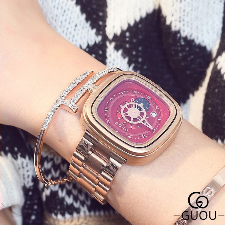 Hk Luxury Brand Guou Fashion Hight Quality Gold Steel Band Waterproof Watch Personality Calendar Couple Men Women Gift Watches