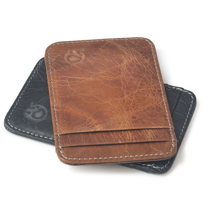 Enkelt äkta läder visitkort plånbok vintage kreditkortshållare högkvalitativt läder kortprotector passhållare bancaire