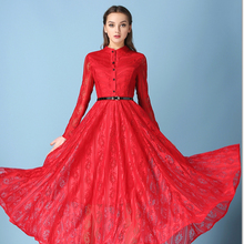 Hot Sell 2016 New Lace bride Dress Slim party Dresses Waist Long Sleeved Slim A-line Pendulum A Tall Display Women Clothing