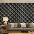 3d  leather soft bag rhombus living room wallpaper modern tv background wall wallpaper