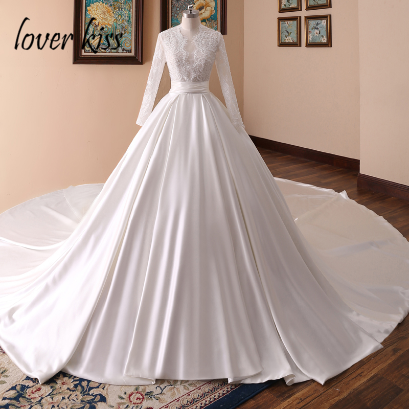 Lover Kiss vestido de novia Elegance Satin Long Sleeve Wedding Dress Lace Pearls Bridal Wedding Gowns Arabic caftan mariage