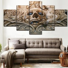 5 Pieces Canvas Print Abstract Artistic Colorful Skull Painting Modern Wall Art Modular Picture Home Decorative Living Room