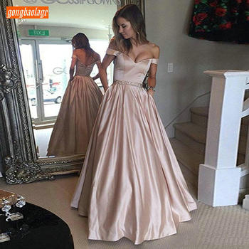 Fashion Off Shoulder Satin Pink Long Prom Dresses Women Sweetheart Sashes Pockets A Line Formal Party Gown Customized Prom Dress