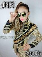 New European and American fashion sexy blouson femme jacket DJ singer golden palace sequined dress costumes jacket coat clothing