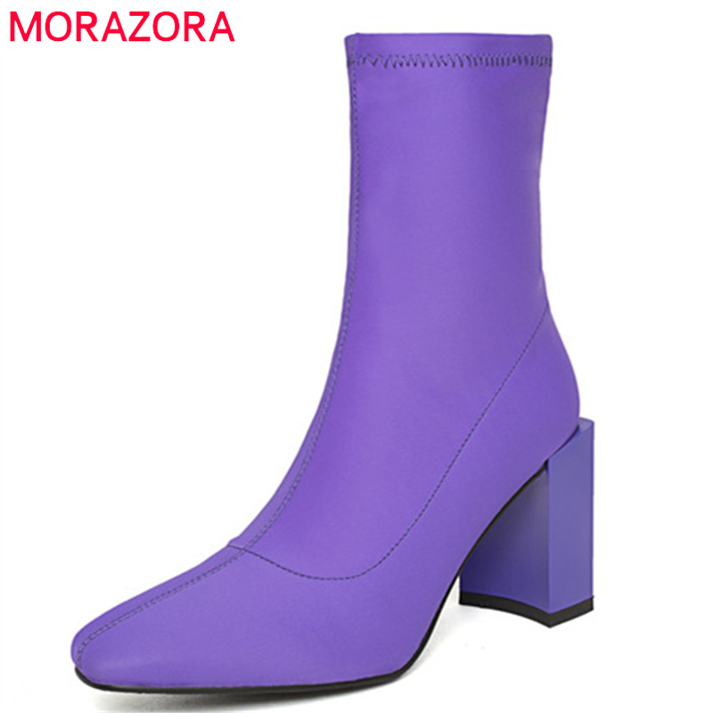 MORAZORA 2018 new fashion ankle boots women square toe autumn winter boots high heels shoes woman popular Stretch socks boots MORAZORA 2018 new fashion ankle boots women square toe autumn winter boots high heels shoes woman popular Stretch socks boots