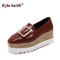 Kyle Keith Brands Women Slip On Loafers Patent Leather Brogues Fringe Shoes Woman Oxford Shoes Flat