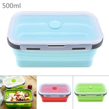 500ML Silicone Lunch Box Rectangle Folding Food Container Portable Bowl Three Colors box  Eco-Friendly