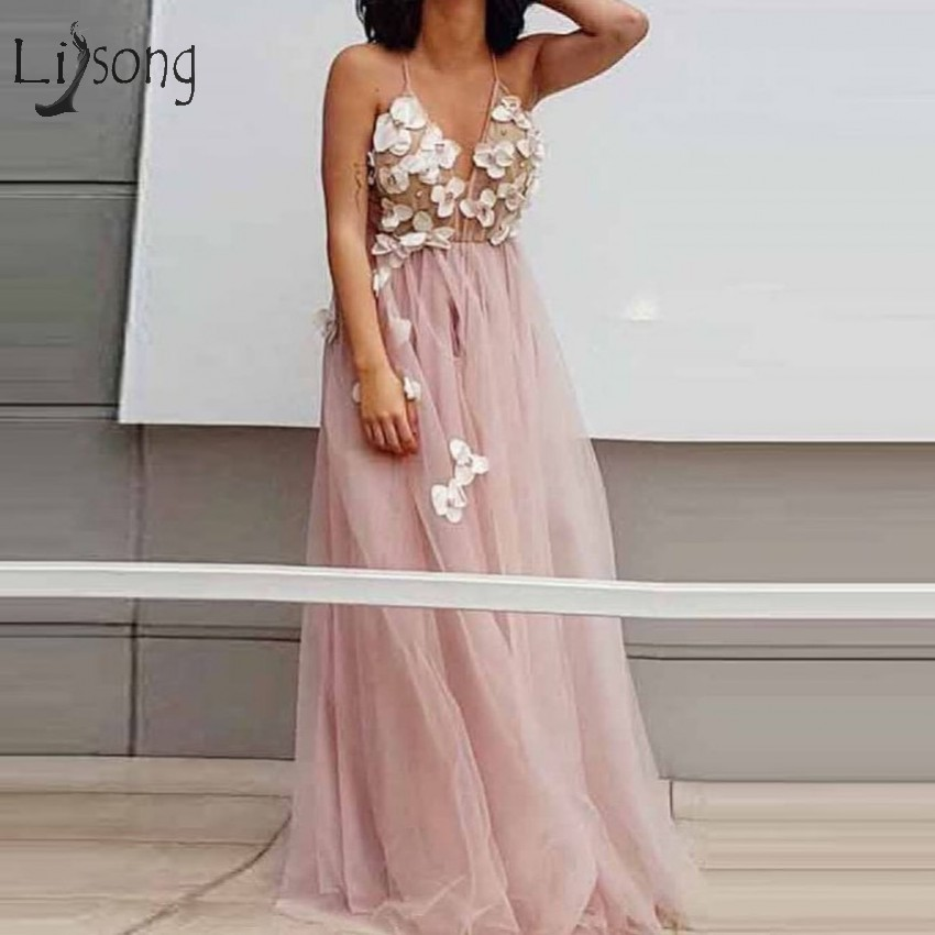 Boho Blush Pink Beach Tulle Prom Dresses 2018 Sexy V-neck Off Shoulder 3D Flower Prom Gowns Abendkleider  Robe De Soiree
