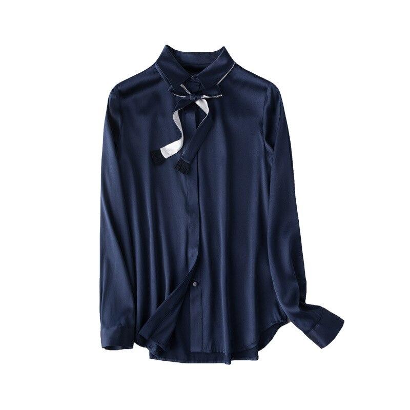 2019 봄 자연 실크 턴 다운 칼라 긴 소매 ol 숙 녀 셔츠 여성 솔리드 컴포트 우아한 진짜 실크 셔츠 넥타이-에서티셔츠부터 여성 의류 의  그룹 1
