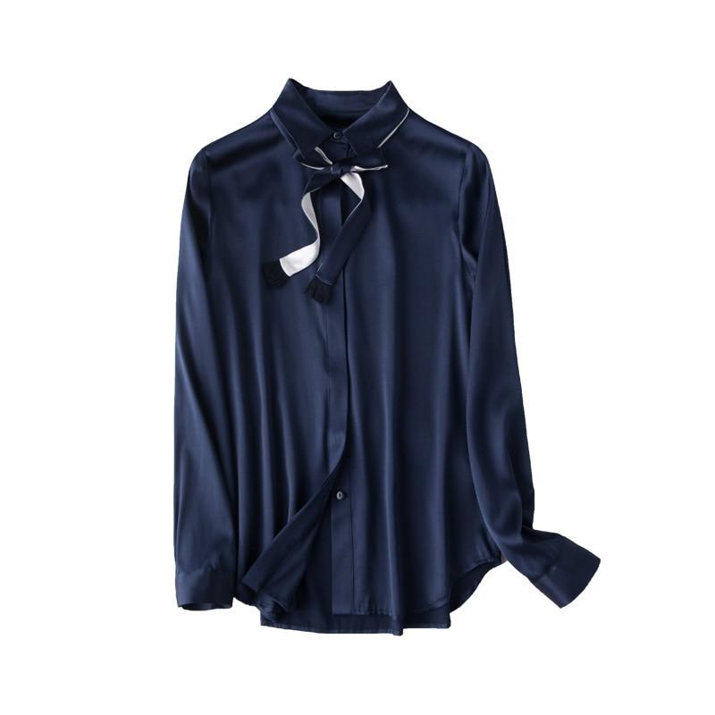 2019 primavera naturaleza seda Turn down Collar manga larga OL señoras camisa sólida comodidad elegante camisa de seda Real con corbata-in Camisetas from Ropa de mujer    1