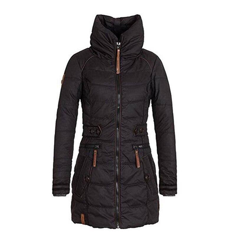 Для женщин Длинные парки молния гот утолщаются хлопка пальто зима-осень бархат утеплитель тонкий стенд воротник верхняя одежда повседневн...