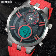 men sport watches dual display digital watch military quartz watch red rubber gift wristwatches 2017 BOAMIGO hot reloj hombre