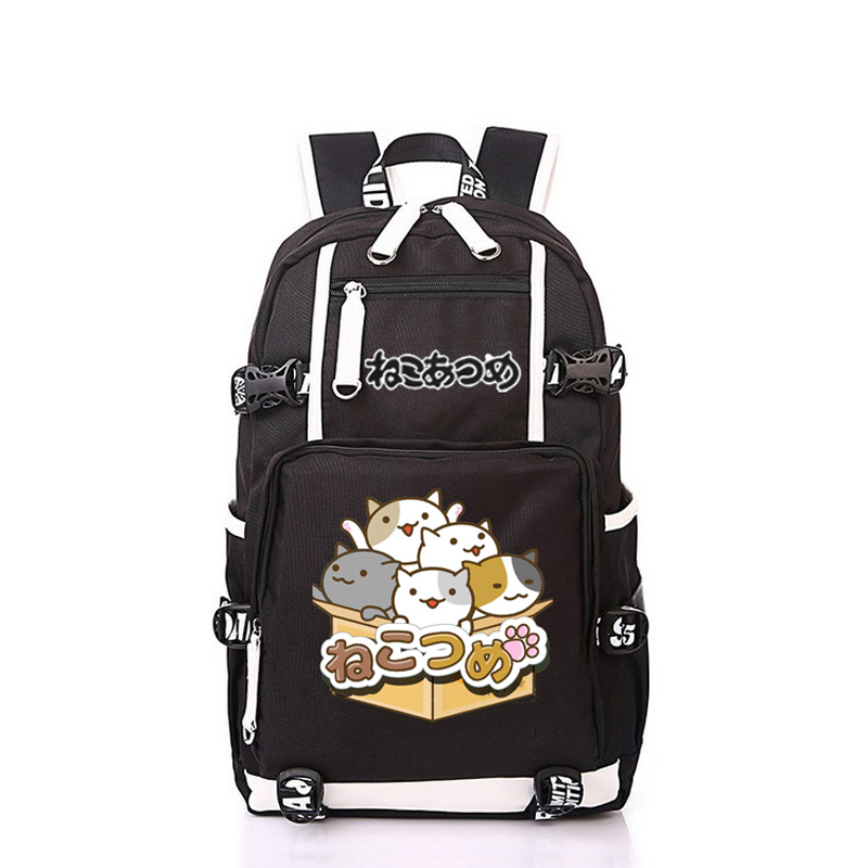 Women Men Anime Cute Cat Backyard Neko Atsume Backpack Rucksack Mochila Schoolbag Bag For School Boys Girls Student Travel anime cartoon tokyo ghoul cosplay backpack schoolbag one piece gintama school bag rucksack men s women s naruto travel bag