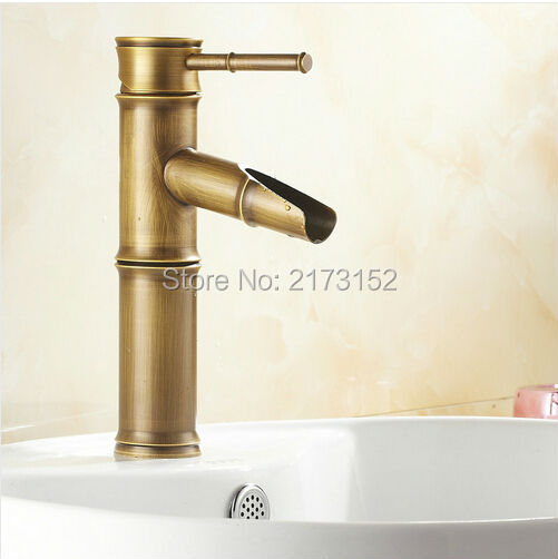 Free Shipping Bamboo Shape Antique Br Waterfall Bathroom Faucet Single Handle Hole Basin Sink