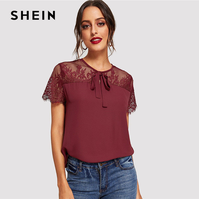 6e3b20eaccf0c SHEIN Burgundy Bow Tie Neck Contrast Mesh Lace Shoulder Lady Top Blouse  Summer Weekend Casual Round