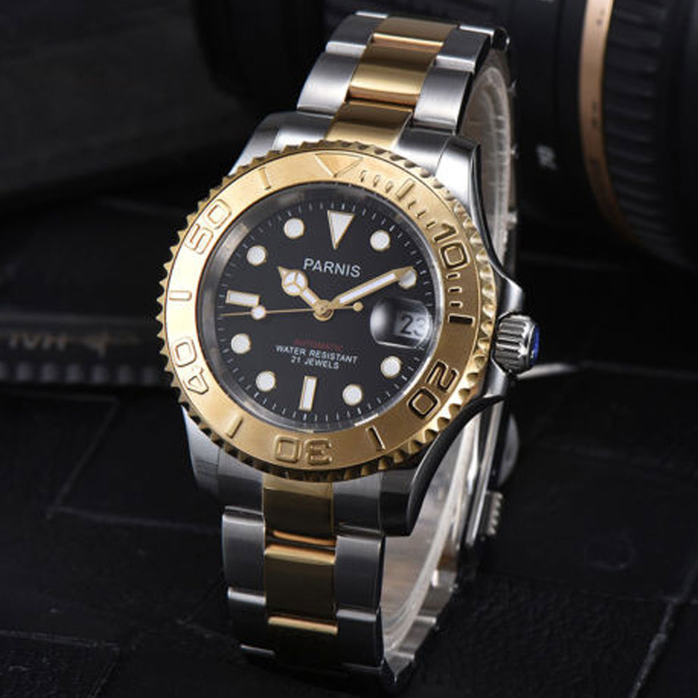 41mm Parnis Black dial Golden plated Sapphire glass Deployment Clasp Newest Hot 21 jewels miyota Automatic movement Mens Watch