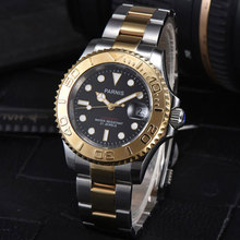 цена 41mm Parnis Black dial Golden plated Sapphire glass Deployment Clasp Newest Hot 21 jewels miyota Automatic movement Men's Watch онлайн в 2017 году