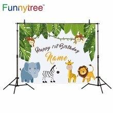 Funnytree animais da natureza tropical deixa macaco aniversário pano de fundo para estúdio fotográfico profissional fundo photocall