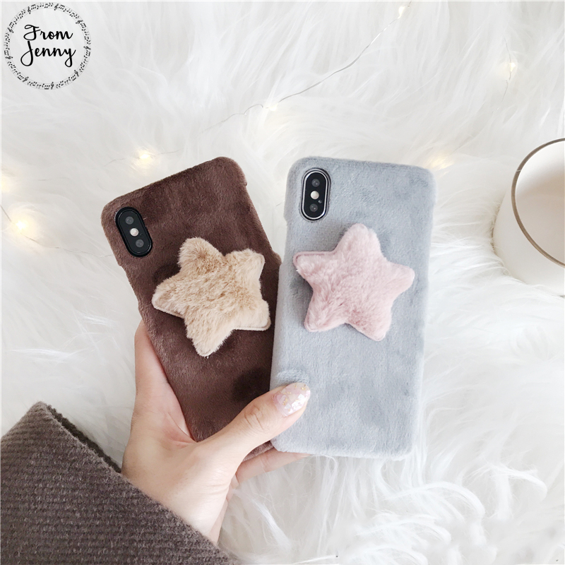 2017 Winter Fur stars Phone Case For iPhone 6 7 8 7plus 8plus 6s Soft Cloth cover shell casing for iphone X ...