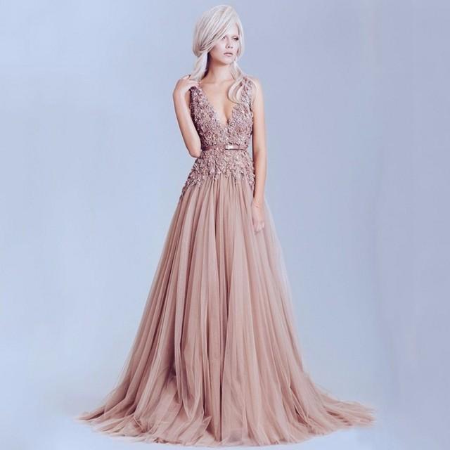 a basso prezzo 885c6 8c779 2017 Dusty Pink Vintage Pizzo Eleganti Abiti Da Sera Lunghi Perle ...