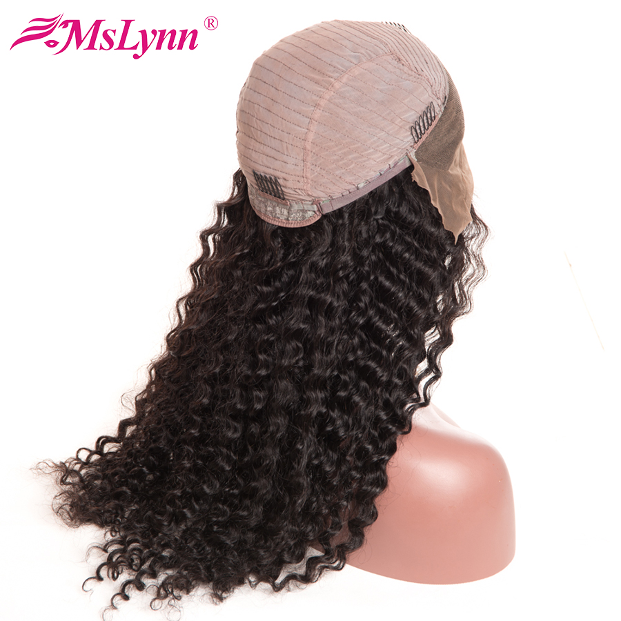 Mslynn Pre Plucked Lace Front Human Hair Wigs For Black Women Deep Wave Brazilian Wig With Baby Hair Non Remy Hair Natural Black