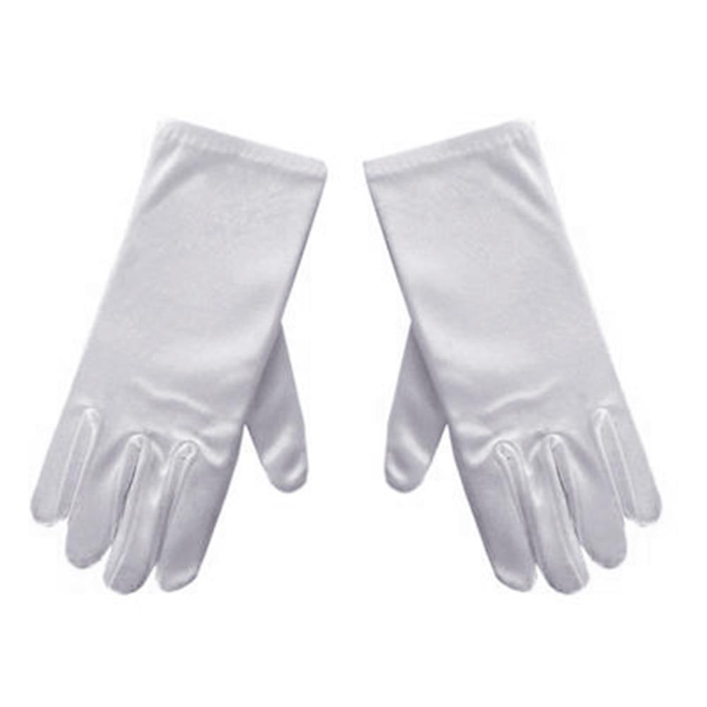 New Unisex Kids Gloves White Short Satin Soft Elastic Gloves For Children Girls Boys Performance Dance Speech Gloves  &