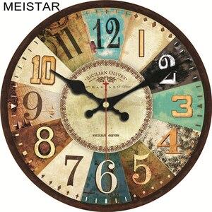 MEISTAR, 4 модели, винтажные часы с деревянным дизайном, бесшумные часы для домашнего декора, для кафе, офиса, кухни, часы для настенного искусства, 6 дюймов (15 см)