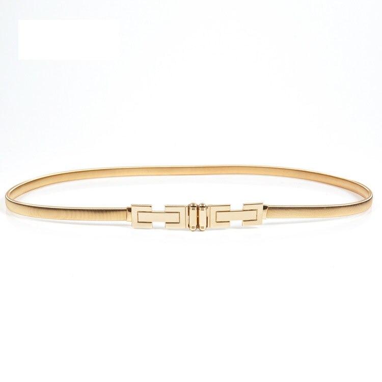 Gold Shape Elastic Belts For Women Girl Stretch Skinny Waist Belt Cummerbunds Metal Female Belt Cinturon Mujer Cinto BL401
