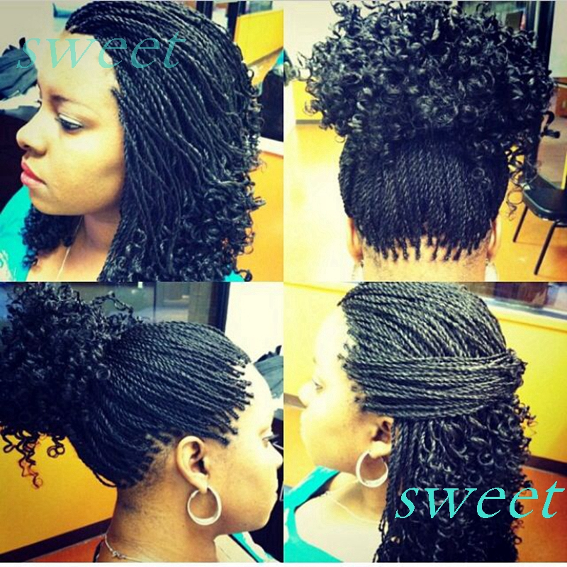 Free shipping natrual color glueless twist braided curly synthetic lace front wigs micro braids ...
