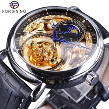 Forsining Golden Silver Mechanical Watches for Men Top Brand Luxury Black Genuine Leather Band Moonphase Fashion Blue Hands