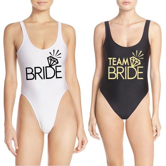 High Cut Badpak.Team Bride Diamond Swimwear Women 2019 One Piece Swimsuit Summer