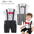 Baby boy birthday dress 2 colores negro caqui plaid pajarita de manga corta romper infant toddler caballeros ropa de fiesta de la boda