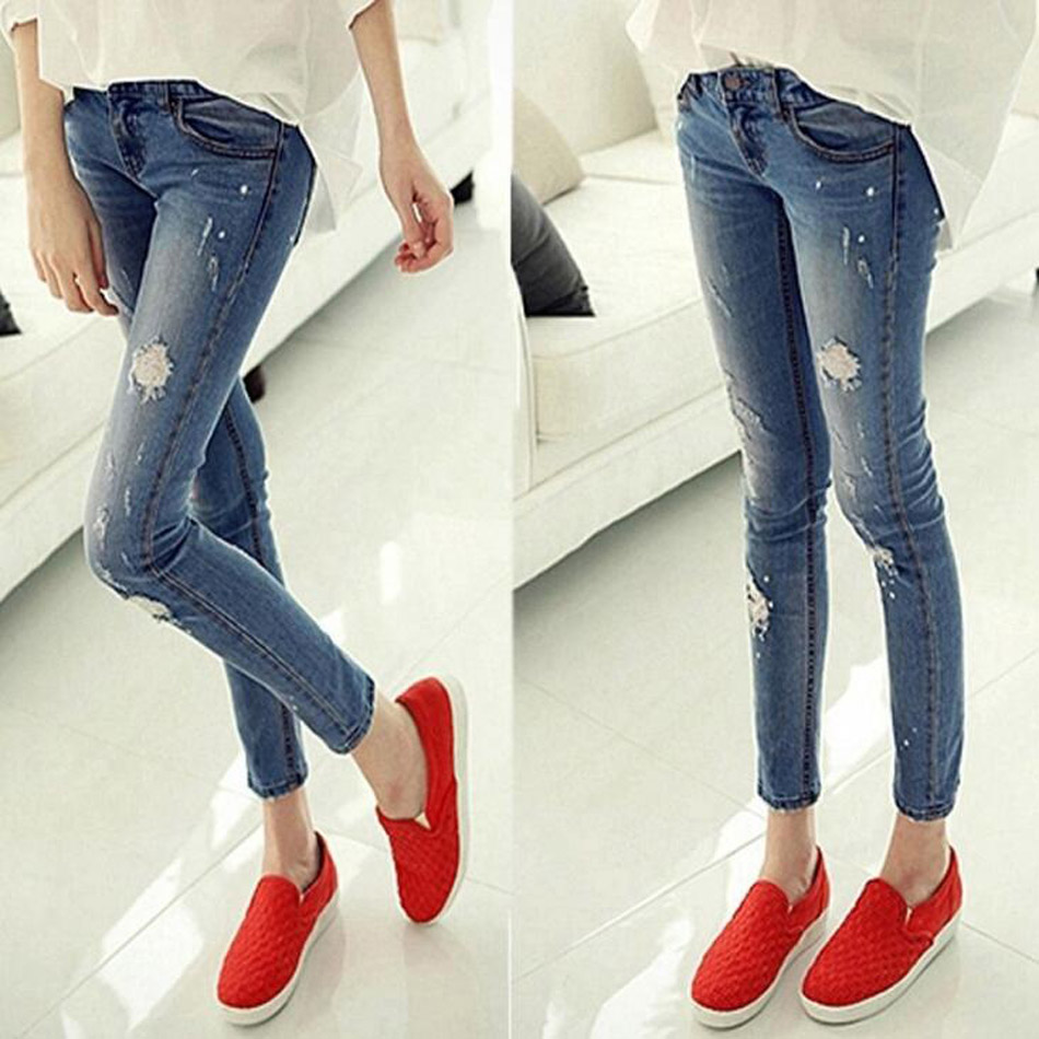 Women ripped jeans Fashion boyfriend jeans woman Loose ripped hole ...