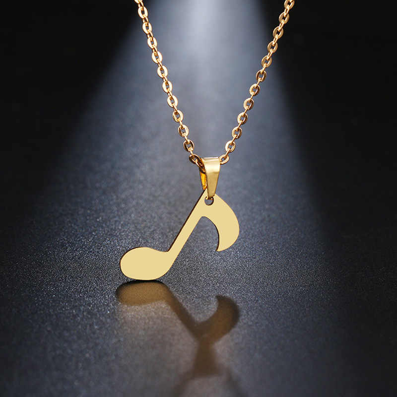 DOTIFI Stainless Steel Necklace For Women Lover's Gold And Silver Delicate Musical Note Pendant Necklace Engagement Jewelry