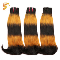 AOSUN HAIR Ombre Human Hair Brazilian Double Drawn Hair Weave Bundles 3 Tone Fumi Double Drawn Curvy Straight 3 Bundles Deals