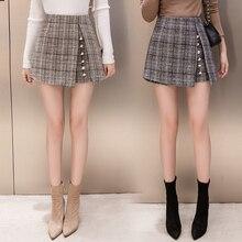 2018 winter Woolen shorts women high waist Button plaid skirt shorts harajuku irregular ladies shorts plus size short mujer