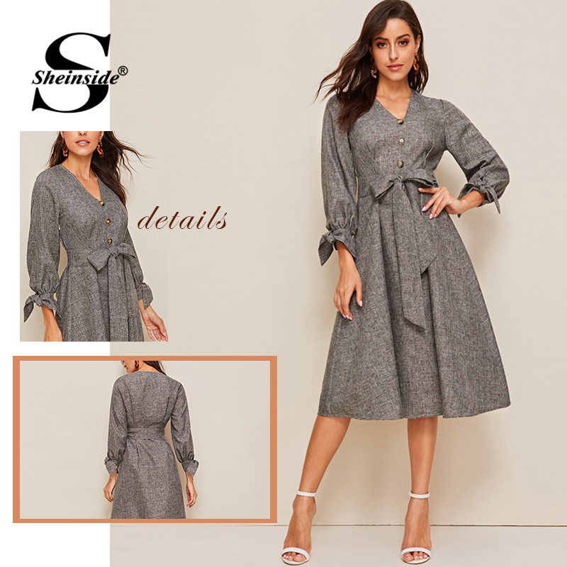 Image 5 - Sheinside Grey Elegant Front Button Detail A Line Dress 2019 Spring Lace Up Cuff Dresses Ladies Solid V neck Midi Dress-in Dresses from Women's Clothing
