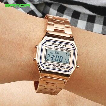 Relojes deportivos SANDA de oro rosa de lujo para Mujer, Reloj Digital electrónico de LED dorado, Reloj impermeable para Mujer